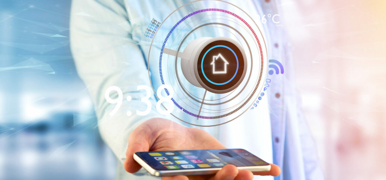 View of a Businessman holding a Button of a smart home automation app over a smartphone- 3d rendering